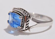 3.60 CARAT Swiss Blue Topaz Ladies Ring Solid Genuine 925 Sterling Silver size 9