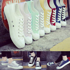 Womens Classic Canvas Laced Up Casual Sneakers Low Top Flats Ladies Sports Shoes