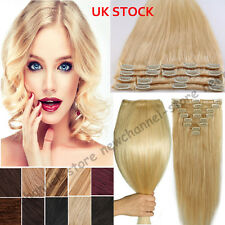 8PCS Full Head Clip in Hair Extensions 100% Remy Human Hair Brown Blonde UK C562
