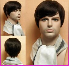 100% real human hair Men 's short full wig hairpiece Gents Man wigs Easy Restyle