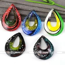 1pc Murano Lampwork Glass Hollow Waterdrop Pendant Beads Fit Necklace Chain DIY