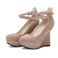 Ladies Platforms Wedges Ankle Strap Sandals High Steady Heels Womens Shoes New