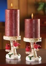 Christmas Cardinal Design Pillar Candle Holder 2 Pc Set ( Candles not Included )