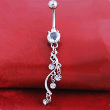 Piercing Jewellery Navel Ring Button Bar Ring S-shaped Rhinestones 1Pcs Body
