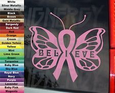 Awareness Believe Cure Cancer COLOR Choice Butterfly Ribbon VINYL STICKER DECAL