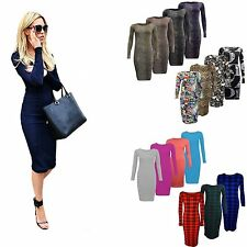 New Ladies Women LONG SLEEVE MIDI DRESS STRETCH BODYCON PLAIN JERSEY MAXI 8-26