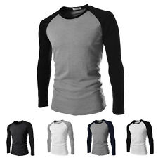 Men Casual Slim Fit Long Sleeve Raglan Crew Neck T-shirt Jumper Basic Tops TEE