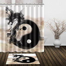 "72/79"" Abstract Dragon Shower Curtain Bathroom Waterproof Fabric Bath Mat 2449"