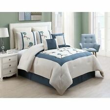 Queen King Bed Hotel Blue Cream Embroidered Floral 8 pc Comforter Set Bedding