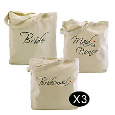 Bride,Maid of Honor, Bridesmaid Tote Bag Set for Wedding Shower Gift Cotton