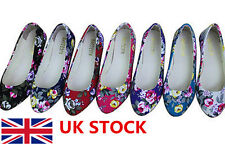 UK Womens Ladies Ballet Flats Low Ballerinas Floral Print Casual Slip On Shoes