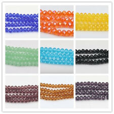 Rondelle 4mm/6mm/8mm/10mm Faceted Crystal Glass Loose Spacer Beads Crafts DIY