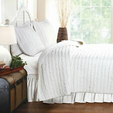 Twin Full Queen King Bed Solid White Ruffle Stripe 3pc Cotton Quilt Set Coverlet