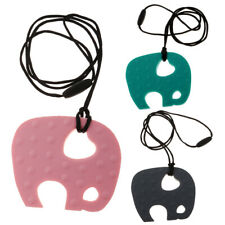Cute Elephant Pendant Baby Teething Necklace Soft Silicone Teether Sensory