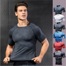 Mens Gym Sports Running Quick Dry T-Shirt Fitness Compression Base Layer Workout