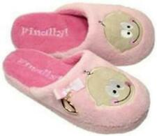 Its A BOY / GIRL Slip On Ladies Slippers PINK or BLUE Smiley Face Fleece