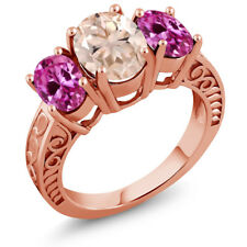 3.40 Ct Peach Morganite Pink Created Sapphire 18K Rose Gold Plated Silver Ring