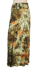 New Sugar Rock Women Tie Dye Maxi Skirt Fold-Over Waist A Line Stretch in Brown