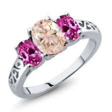 2.00 Ct Oval Peach Morganite Pink Created Sapphire 925 Sterling Silver Ring