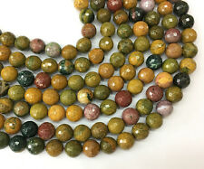 Natural Green Yellow Ocean Jasper Gemstone Bead Round Faceted Beads 6mm 8mm 10mm