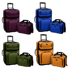 US Traveler Rio Carry-on Light Expandable Rolling Luggage Suitcase Tote Bag Set