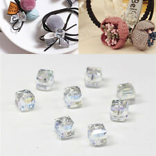 Square Crystal Cube DIY Spacer Beads Glass Faceted Loose 4mm/6mm 10Pcs