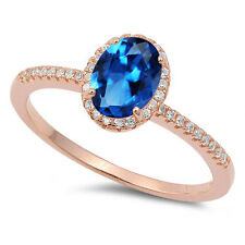 18k Rose Gold Plated Fashion Blue Sapphire Oval Cut w/ CZ Sterling Silver Ring