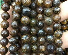 Wholesale Gemstone Natural Bronzite Faceted Beads Brown Round Beads 6mm 8mm 10mm