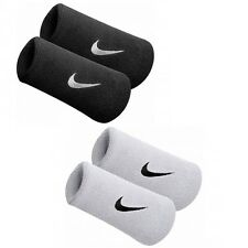 Mens & Ladies 2 Pack Nike Swoosh Double-Wide Wristbands Black Or White