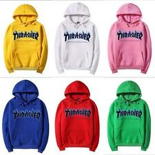 @@Thrasher blue flame Logo men's hooded fleece women's and wool hoodies Clothing