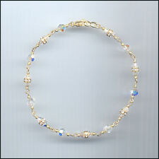 Dainty Gold Filled Anklet with Swarovski AURORA BOREALIS Crystals & Rondelles