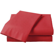 Red Percale Fitted Sheet - Plain Bed Linen Cotton Blend Bed Sheets