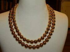 Nice Vintage Liz Claiborne Gold Tone Bead Double Strand Necklace