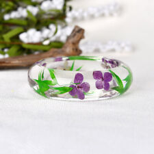 Clear Transparent Bracelet Preserved in Resin Real Dried Flower Bangle Jewelry