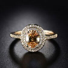 18K Gold Filled Oval Cut Yellow Topaz White Crystal Women Wedding Ring Size 7-10