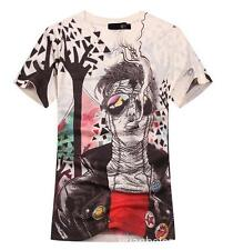 NWT Men's Just Cavalli Graphic Injuredface Cotton Short V-neck T-shirt Top