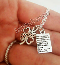 925 Silver Lucky to have you My lucky four leaf clover minimalist Charm necklace