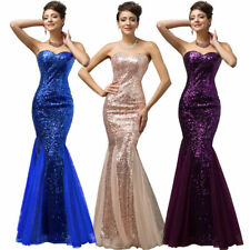 Women Strapless Sequins Mermaid Tulle Evening Prom Party Ball Gown Wedding Dress