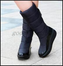 New Womens Winter Snow Mid Calf Boots Thicken Fur Lined waterproof Creeper Shoes