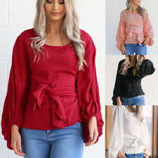 Women's O Neck Casual Long Flare Sleeve Ladies Bandage T-shirt Tops Blouse