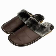 2017 New Arrival Warm Indoor Thick Shoes for Men Genuine Leather Furry Slippers