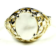 • R004, Mother of Pearl, 10k Yellow Gold Ladies Ring -Handmade
