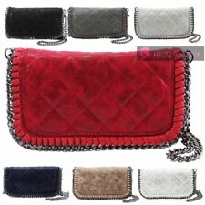NEW WOMENS QUILTED FAUX LEATHER CHAIN DETAIL FASHION CROSSBODY BAG HANDBAG