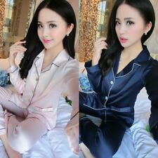 Women Silk Satin Pajamas Set Sleepwear Loungewear Plus Long Sleeve Tops+Pants