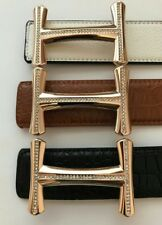 NEW MENS DESIGNER BELTS FOR MEN & WOMEN,H BELT,H BUCKLE,LEATHER,H BELTS. LEATHER
