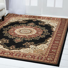 Black Red Bordered Area Rug Traditional Persian Oriental Medallion Carpet