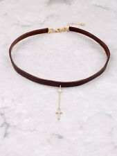 Gold Dipped Pave Cross Hanging Choker