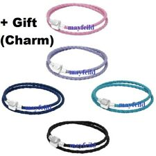 Silver Plated Moments Dual Leather Bracelet Bangle fit European Charm Bead
