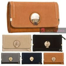 NEW WOMEN'S FAUX LEATHER FAUX SUEDE FLAP ROUND DETAIL SHOULDER BAG HANDBAG