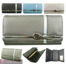 NEW LADIES TEXTURED FAUX LEATHER BOW DETAIL METALLIC ELEMENTS LARGE WALLET PURSE